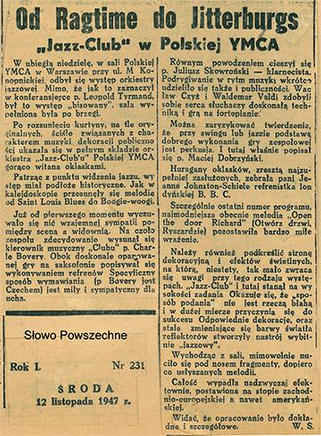 Recenzja z pierwszego powojennego koncertu jazzowego w YMCA.  1947 r