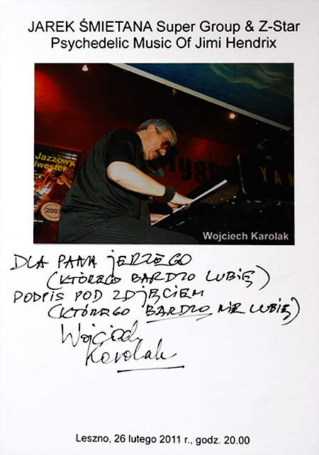 Kartonik z autografem W. Karolaka  (fot. z archiwum J. Reicha)